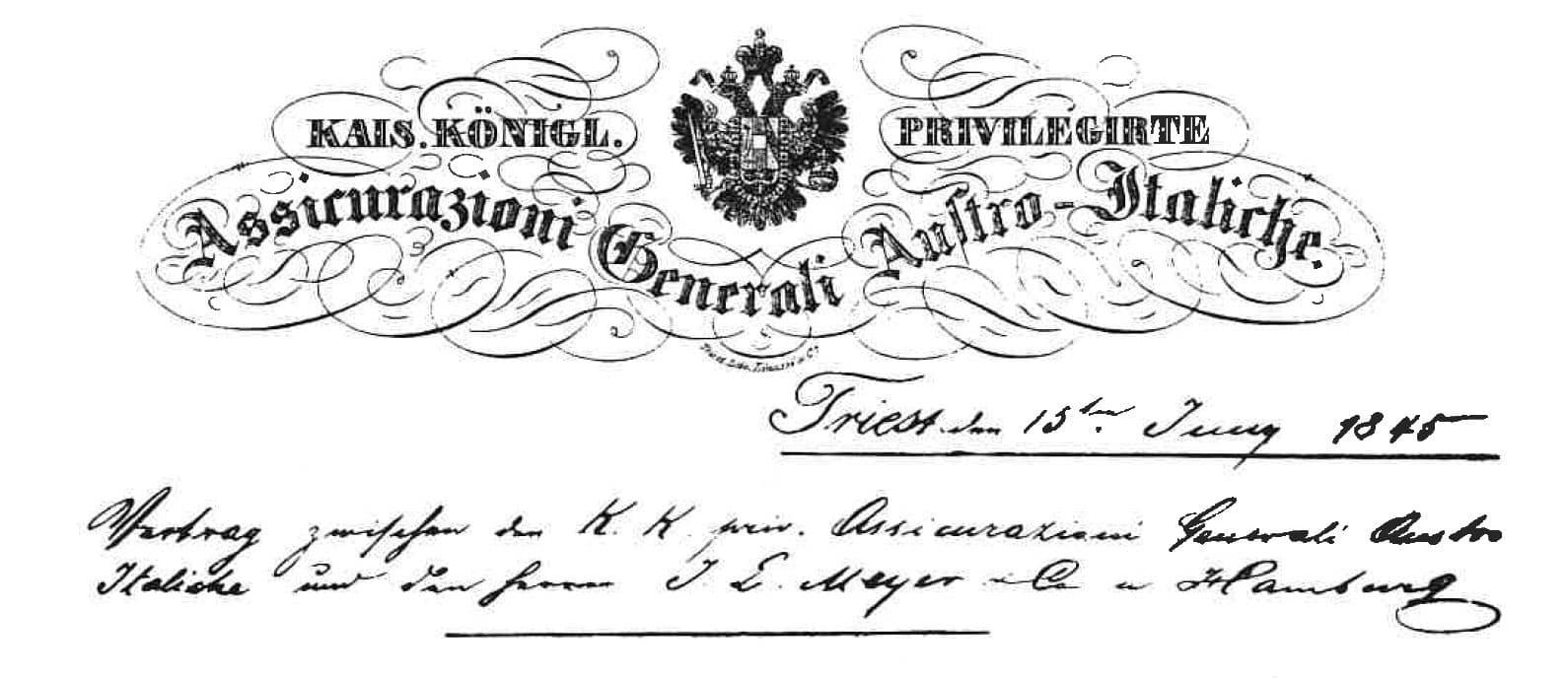 Gründungsurkunde von 1845 Carl Rieck