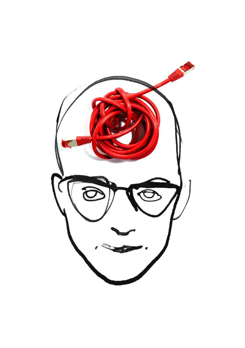 Gezeichneter Kopf mit rotem USB Kabel auf der Stirn