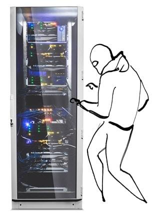 Serverschrank mit Einbrecher