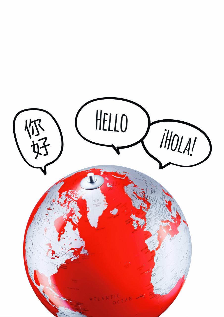 Globus rot mit Sprechblasen